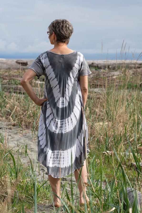 Short Sleeve Tie Dye Swing Dress, Grey, original image number 1