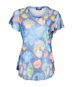 Shell Print Mesh T-Shirt, Blue, original image number 1