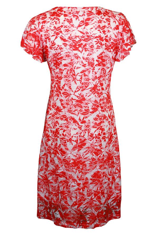 Spilt Flutter Sleeve Lace Midi Dress, Coral, original image number 1