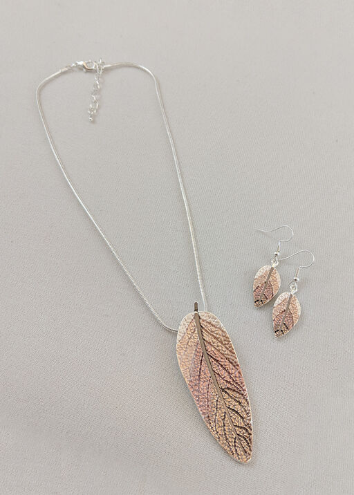 Metallic Leaves Necklace and Earrings Set, , original