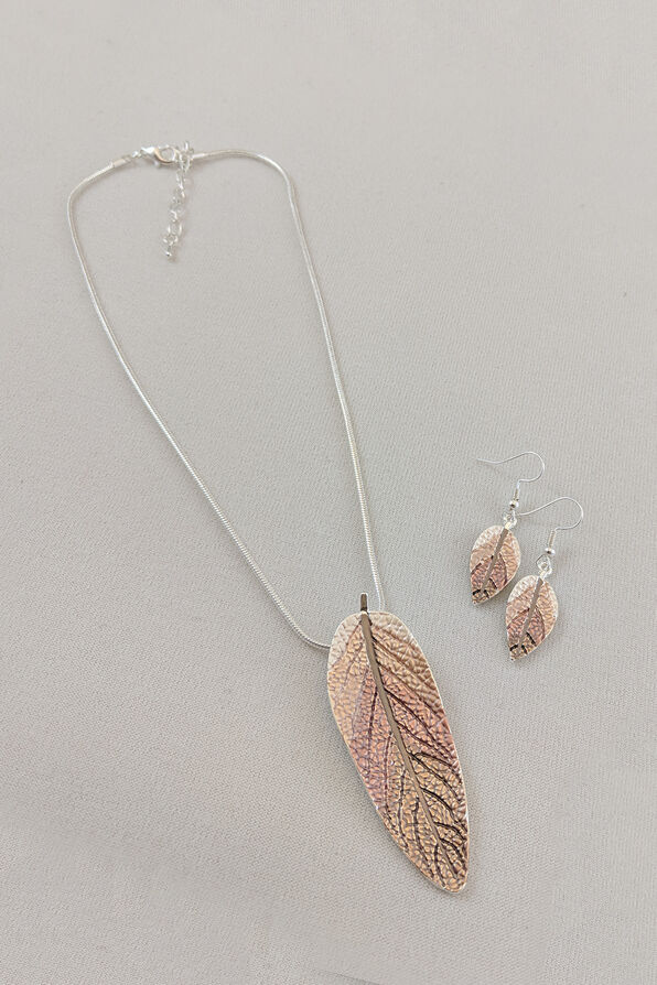 Metallic Leaves Necklace and Earrings Set, , original image number 0