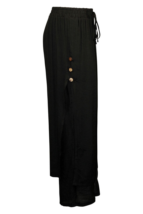 Layered Wide Leg Pant with Button Accent, Black, original image number 2