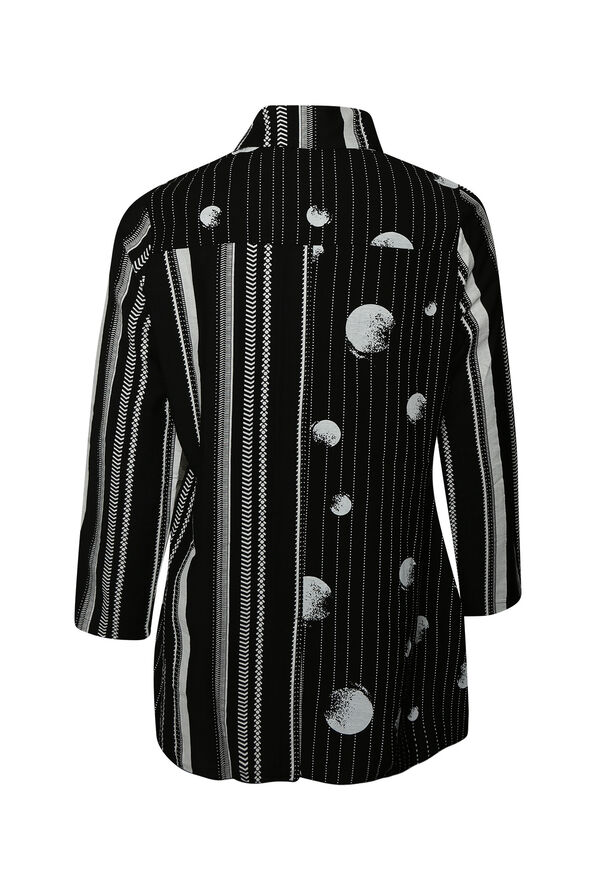 Striped Printed Button-Up Long Sleeve, Black, original image number 1
