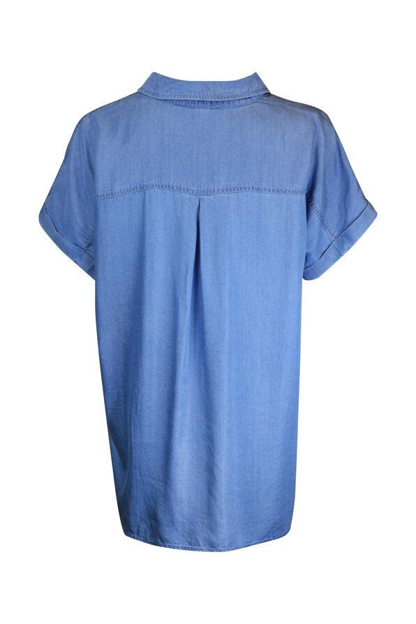 Cap Sleeve Chambray Button Front Shirt, Indigo, original image number 1