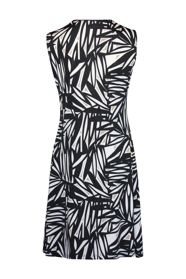 Sleeveless Fit and Flare Dress with Surplice Neckline, Black, original image number 1
