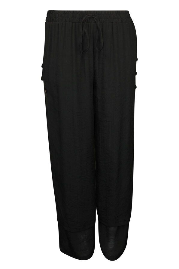 Layered Wide Leg Pant with Button Accent, , original image number 1