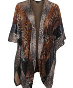 Golden Accent Kimono, Brown, original image number 0