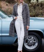 Plaid Wool Knee Length Pea Coat, Rust, original image number 1
