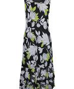 Sleeveless Mesh Maxi Dress with Ruffle Hem, Black, original image number 0
