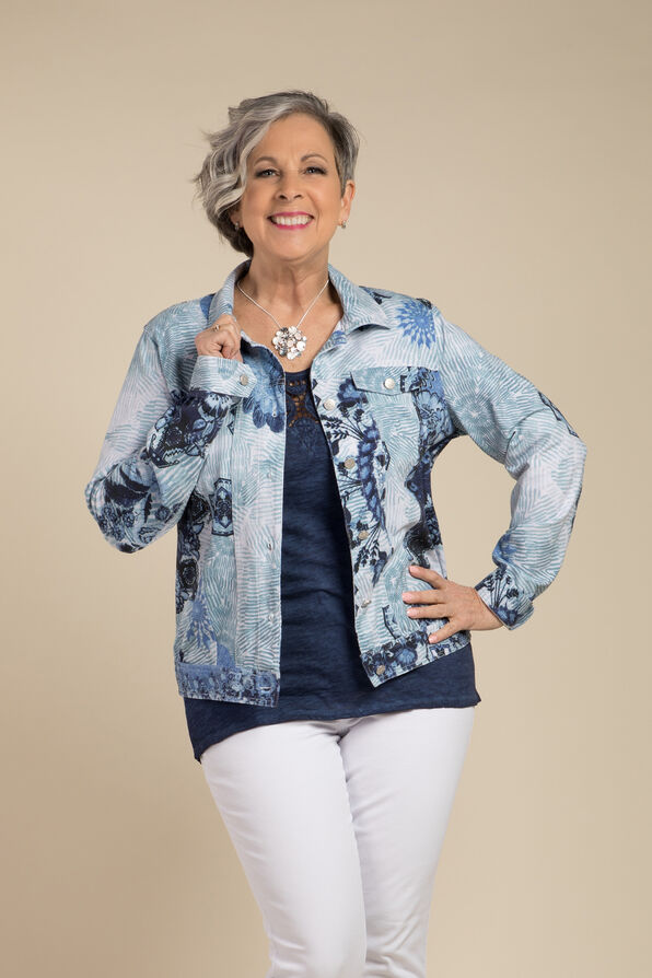 Selene Faux Denim Jacket, Blue, original image number 0