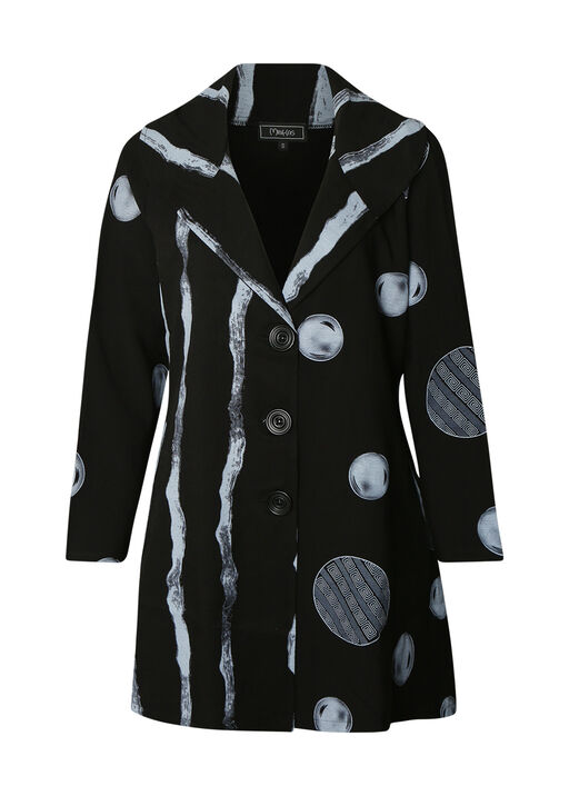 Printed Jacket with 3 Button Front, Black, original