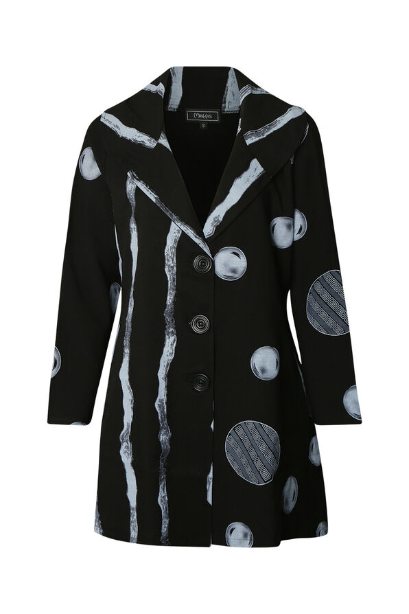 Printed Jacket with 3 Button Front, Black, original image number 0
