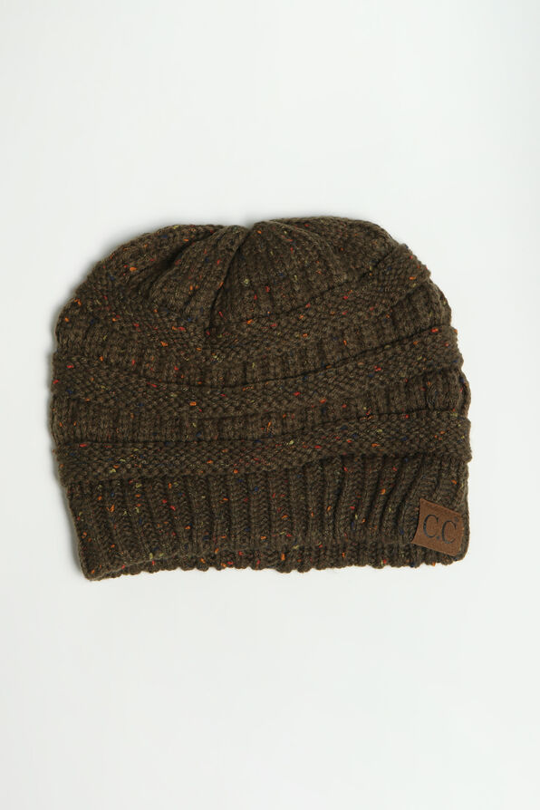 Cable Knit Beanie, Olive, original image number 0