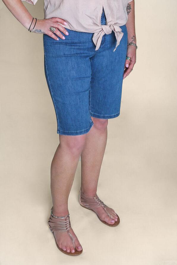 Embroidered Pocket Denim Shorts, Denim, original image number 2