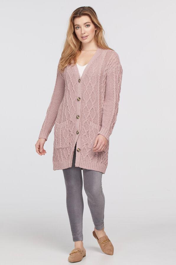 Cable Cardigan Sweater, Pink, original image number 0