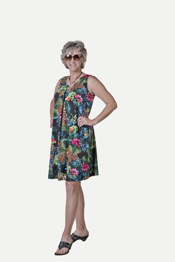 Sleeveless Animal Print A-Line Dress, Multi, original image number 0