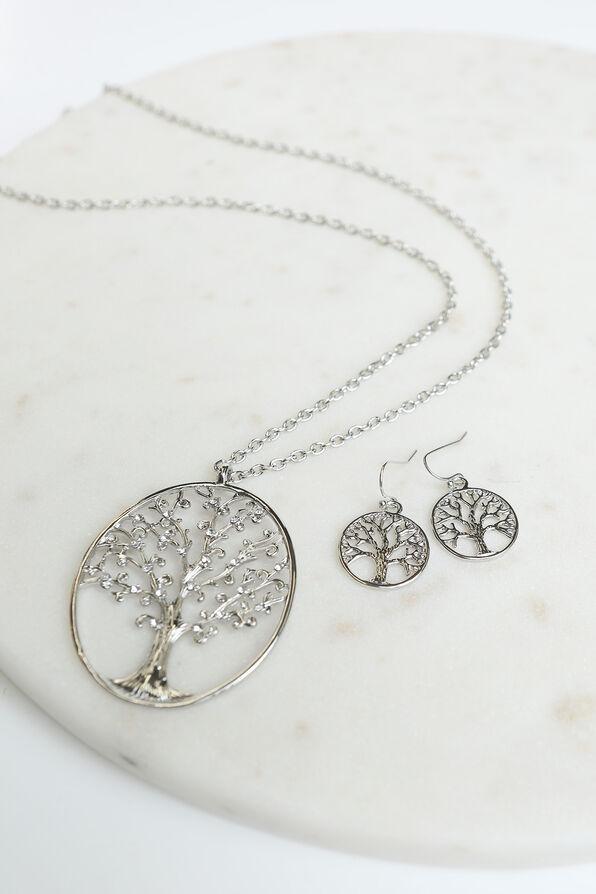 Tree Statement Necklace Set , Silver, original image number 1