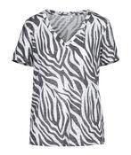 Zebra Print V-Neck T-Shirt, Black, original image number 0
