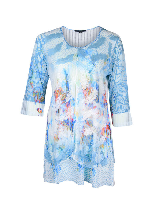 Feather Print Burnout Overlay 3/4 Sleeve, Blue, original