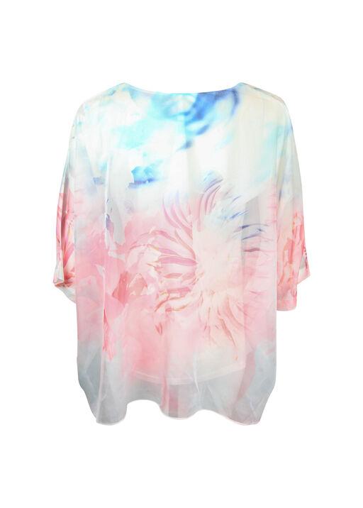 Chiffon Overlay 3/4 Sleeve Blouse, Pink, original