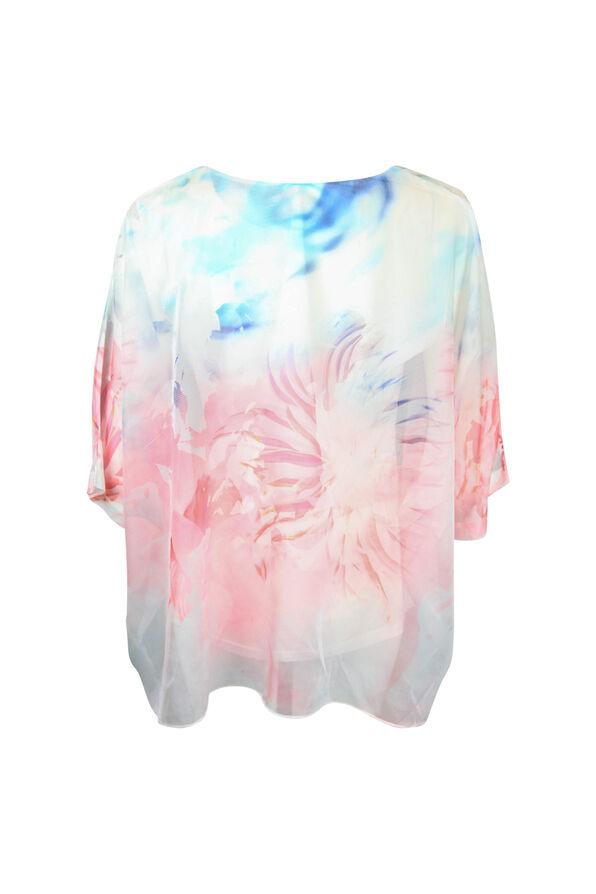 Chiffon Overlay 3/4 Sleeve Blouse, Pink, original image number 1