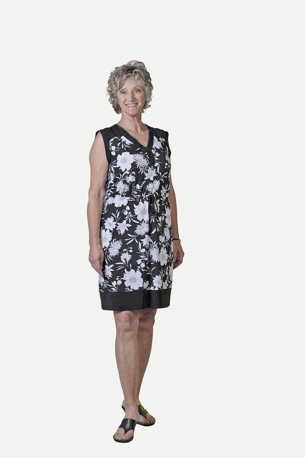 Sleeveless Knee Length Dress with Drawstring Waist, Black, original image number 1