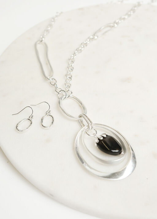 Hammered Earring Necklace Set, Silver, original