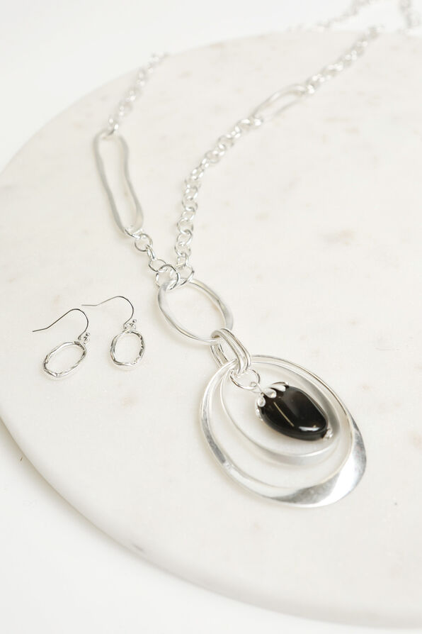 Hammered Earring Necklace Set, Silver, original image number 1