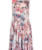 Floral Animal Print Fit and Flare Midi Dress, Pink, original image number 0