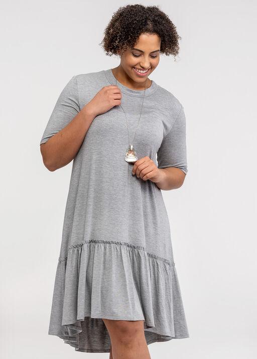 Short Sleeve T-Shirt Dress with Ruffle Hi-Lo Hem, Grey, original