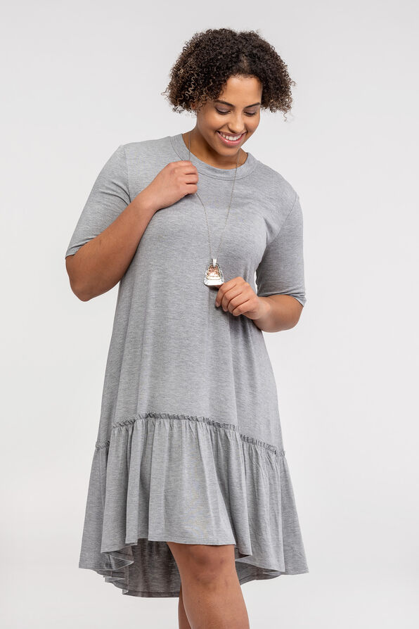 Short Sleeve T-Shirt Dress with Ruffle Hi-Lo Hem, Grey, original image number 1