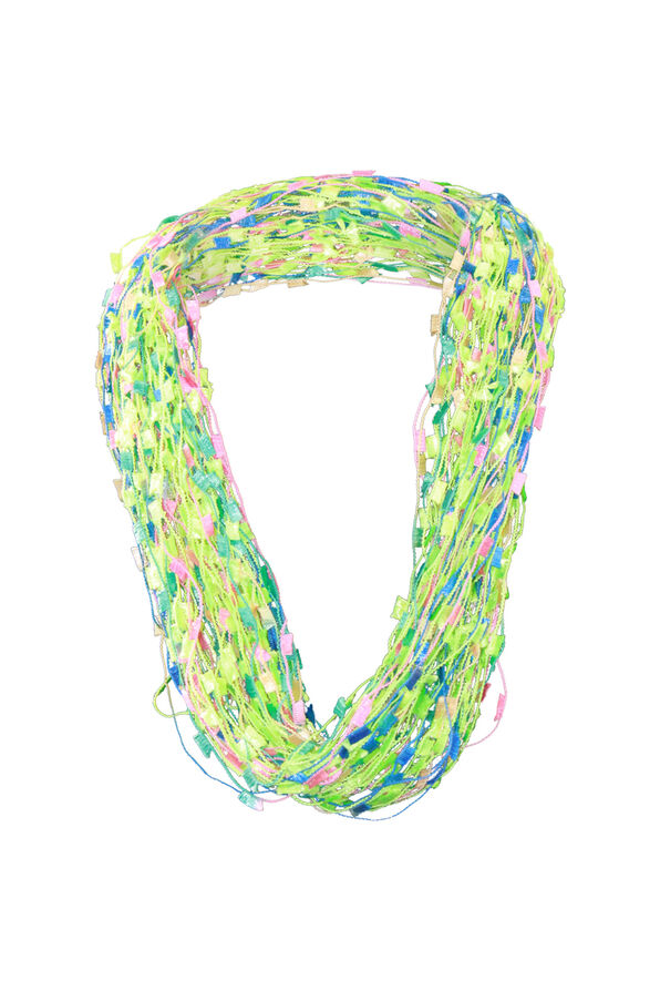 Multi-String Scarf with Magnetic Closure, Lime, original image number 0