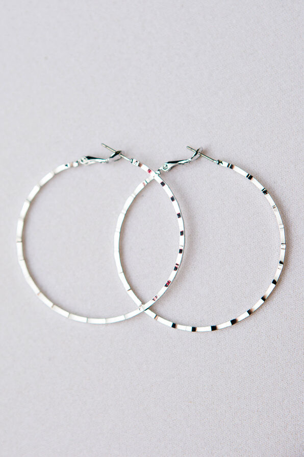Notched Edge Hoops, Silver, original image number 1