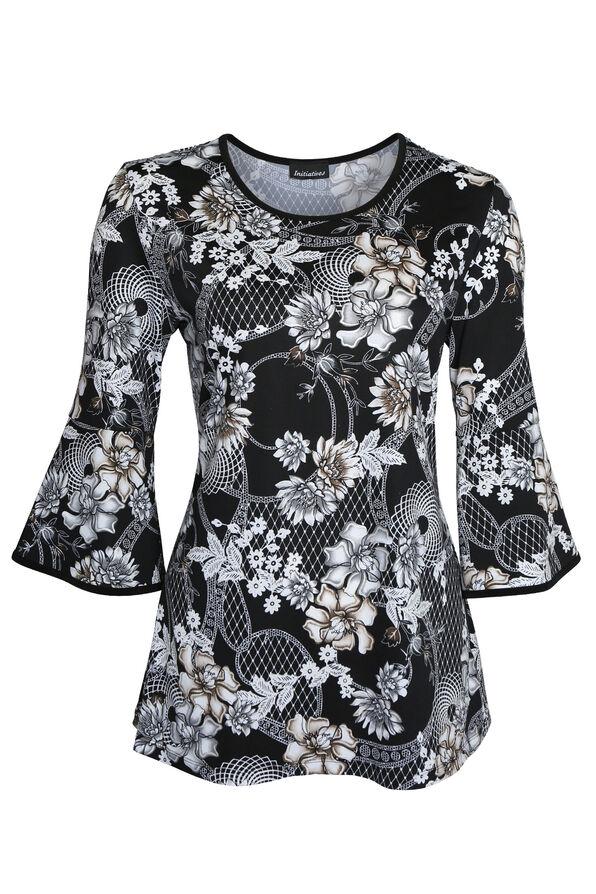 Floral Shimmer Bell Sleeve, Black, original image number 0