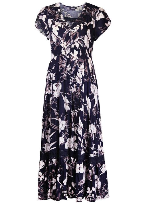 Empire Waist Midi Dress with Crochet Accents, Navy, original