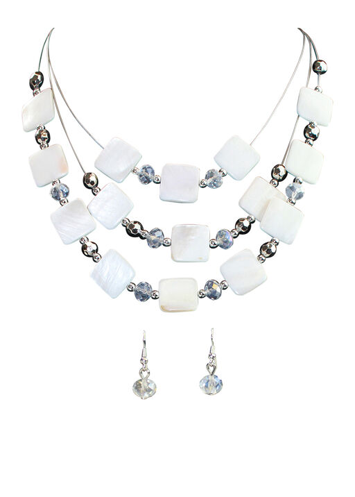 Square Shell Multi-Strand Necklace Earring Set, White, original