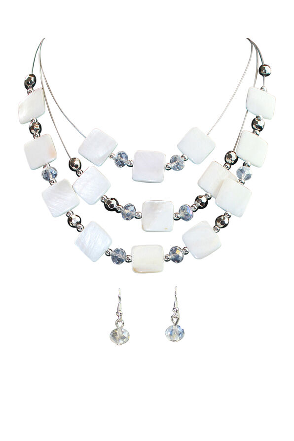 Square Shell Multi-Strand Necklace Earring Set, White, original image number 0