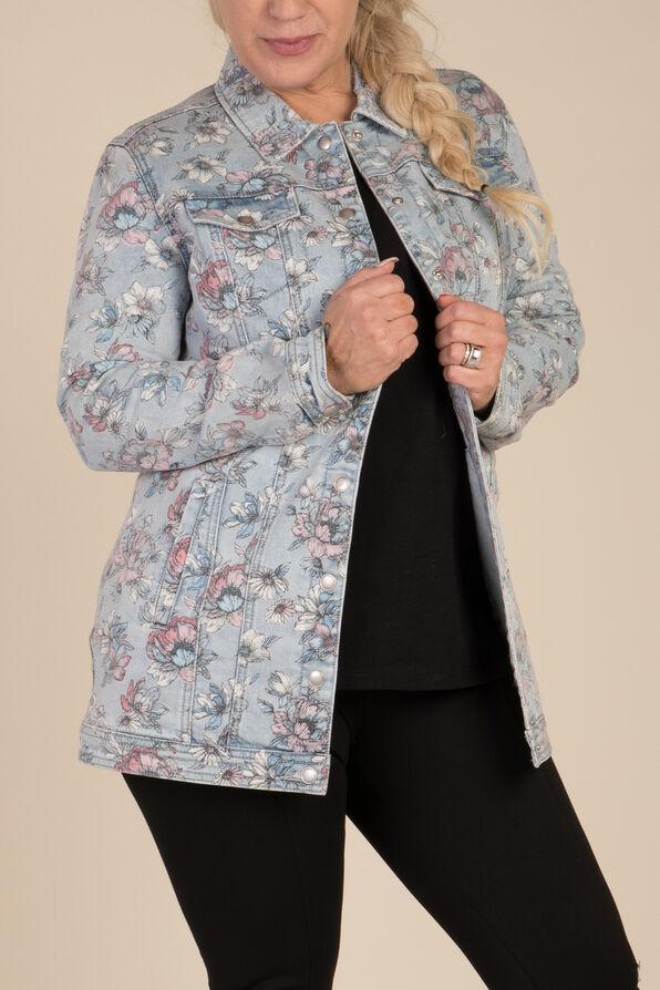 Painted Denim Maxi Jacket, Denim, original image number 2