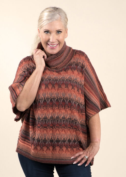 Poncho Sweater with Dolman Sleeves, Orange, original