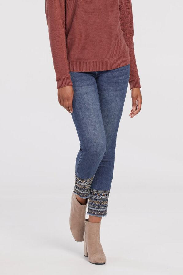Evren Embellished Ankle Jean, Indigo, original image number 2
