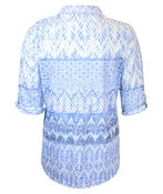 Burnout Blouse with Crystals and 3/4 Sleeve, White, original image number 1