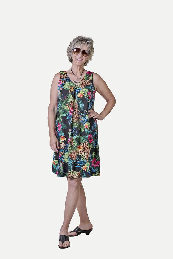 Sleeveless Animal Print A-Line Dress, Multi, original image number 1