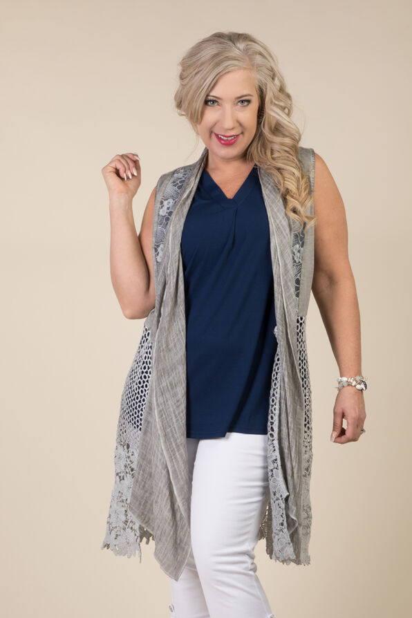 Monroe Sleeveless Duster, Grey, original image number 1