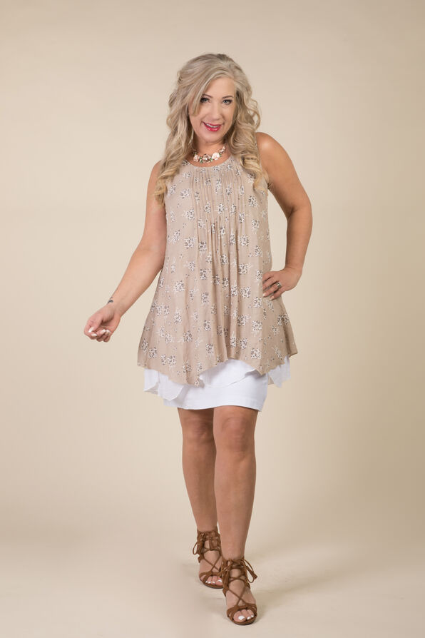 Layered Sleeveless Tunic, Taupe, original image number 0