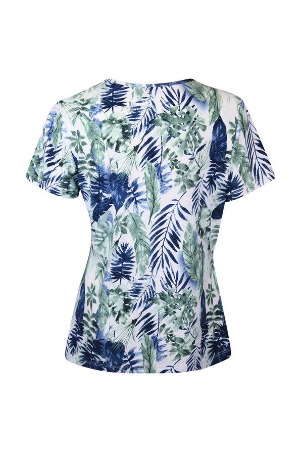 Keyhole Neckline Leaf Print Short Sleeve Shirt, White, original image number 1