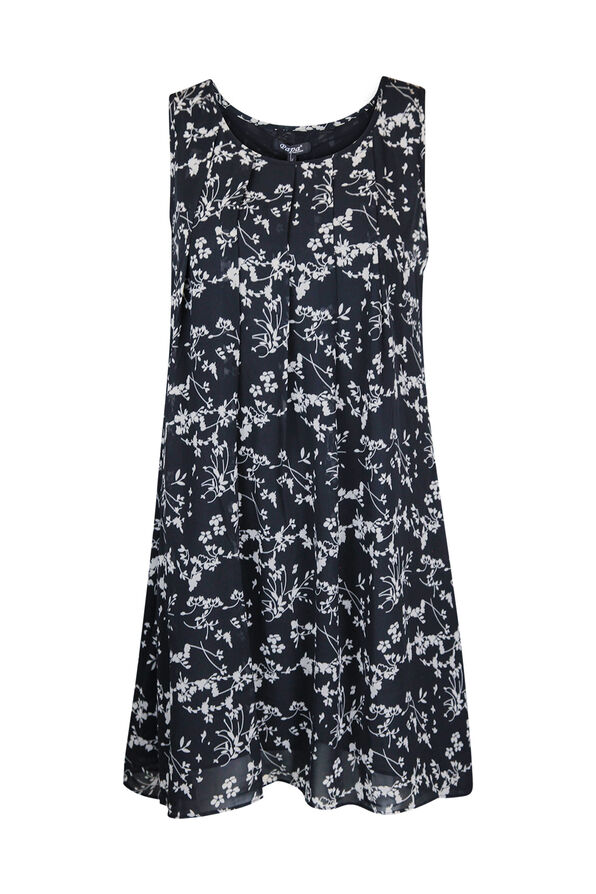 Floral Pintuck Sleeveless Chiffon Tunic, Black, original image number 0