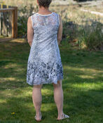 Sleeveless Fit and Flare Printed Lace Dress, White, original image number 1