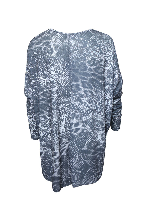 Ultra Soft Snake Print Long Sleeve Top, Charcoal, original image number 1