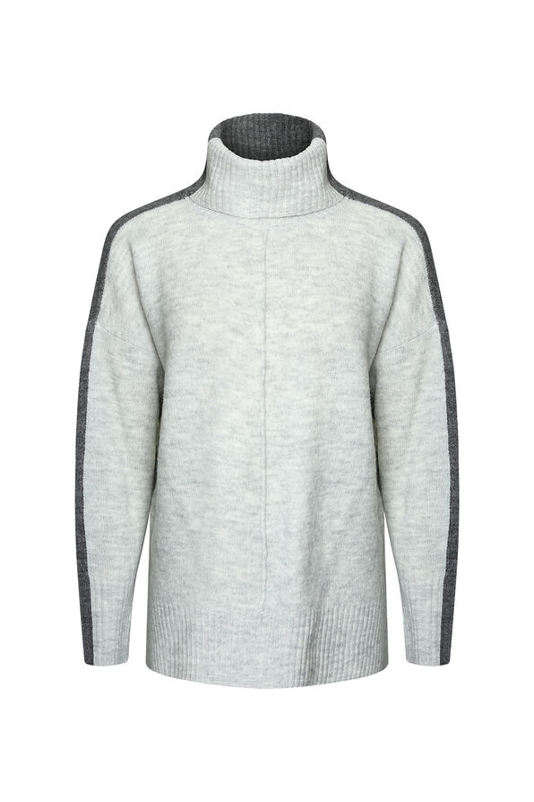 Amirah Relaxed Fit Turtle Neck Sweater, Grey, original image number 0