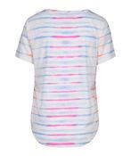 Tie Dye Striped Linen T-Shirt, Pink, original image number 3